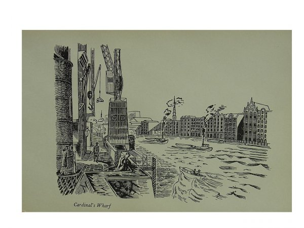 Cardinals Wharf On Docklands Wapping by Edward Bawden at