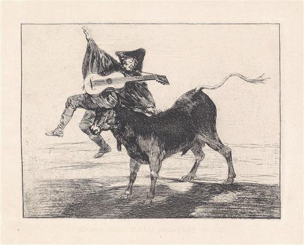 Dios Se Lo Pague A Usted (aveugle Enlevé Sur Les Cornes D'un Taureau) by Francisco Goya at