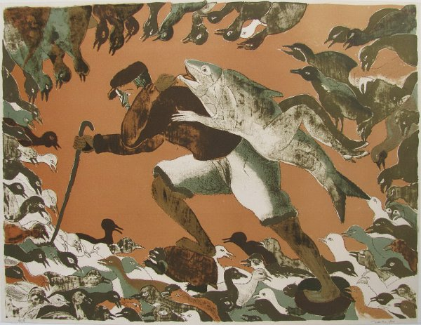 Untitled Mermaid And Birds by Francisco Toledo at