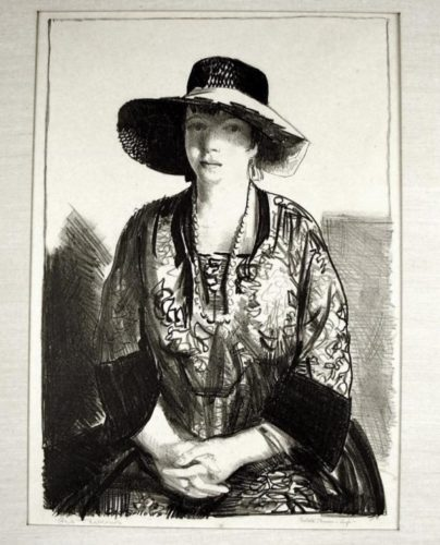 The Black Hat (emma In A Black Hat) by George Bellows at