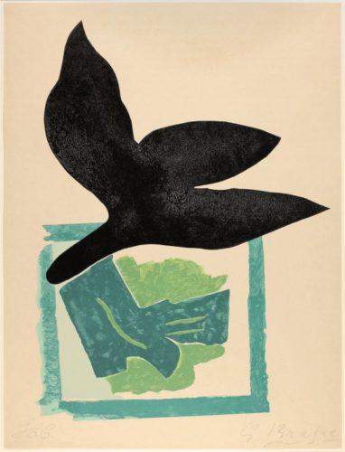 Oiseau Noir Sur Fond Vert by Georges Braque at Galerie Hochdruck
