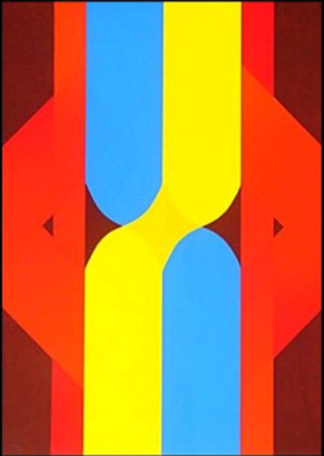 Untitled Blue Yellow Red by HIro Yada at