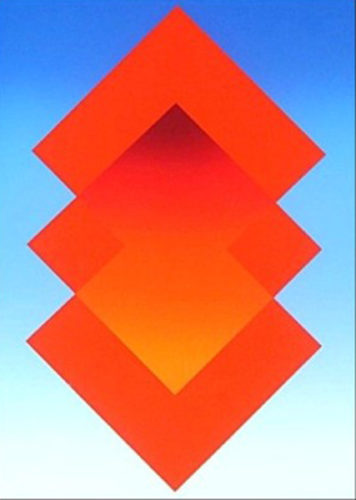Untitled, Red, Orange, Blue by HIro Yada