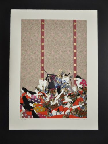 Genpei No. 10 – Yoshinaka Kiso Enters Kyoto by Hideo Takeda at Hanga Ten - Contemporary Japanese Prints