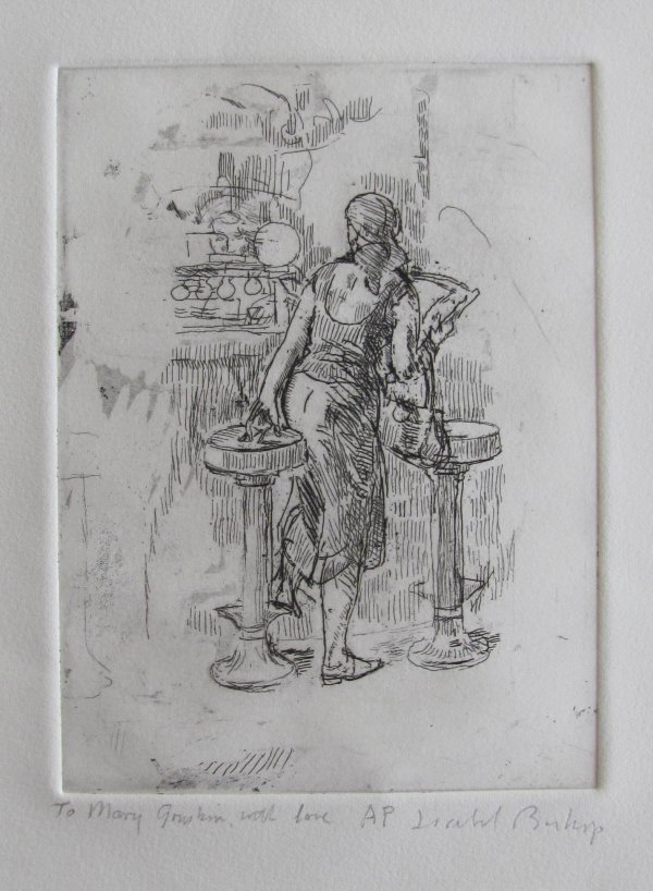 Girl Getting On Soda Fountain Stool by Isabel Bishop