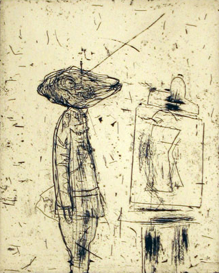 Untitled (soldier And Easel) by John Walker