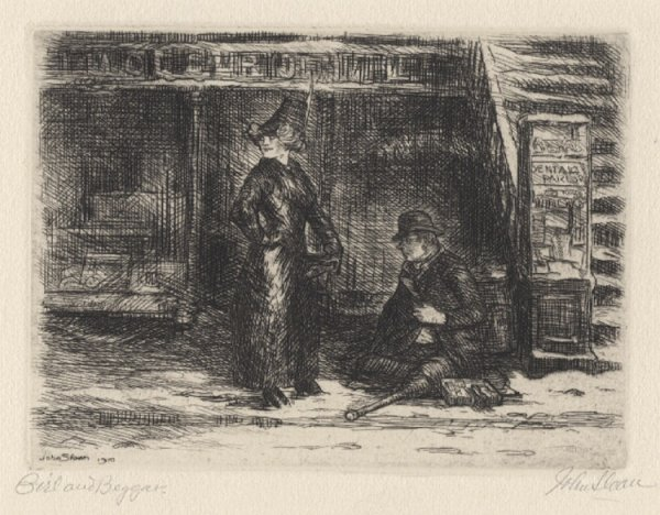 Girl And Beggar by John Sloan at
