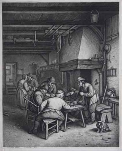 Five Peasants Playing Tric-trac By A Fireplace by Jonas Suyderhoef