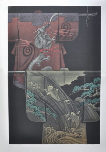 Kimono – Ryu And Carp (diptych) by Katsunori Hamanishi at Hanga Ten - Contemporary Japanese Prints