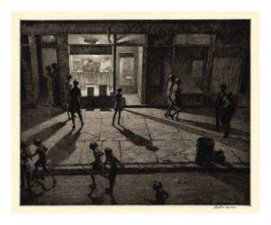 Spring Night, Greenwich Village by Martin Lewis at Harris Schrank Fine Prints (IFPDA)