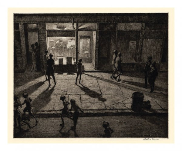 Spring Night, Greenwich Village by Martin Lewis at Harris Schrank Fine Prints (IFPDA)