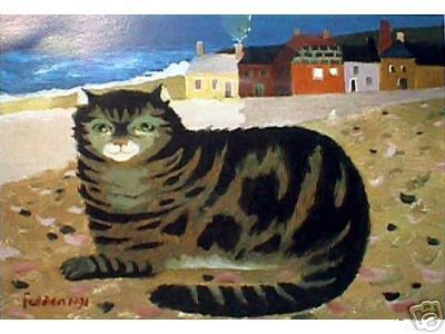 Cat On A Cornish Beach by Mary Fedden