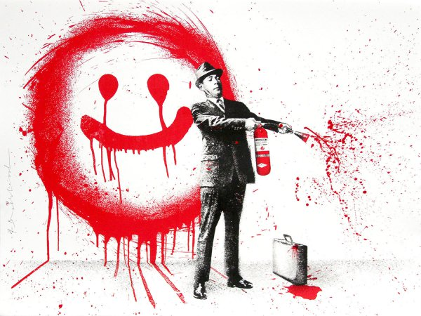 Spray Happiness Red by Mr. Brainwash at Mr. Brainwash