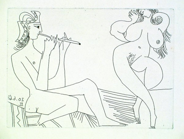 Flutiste Grec Et Danseuse by Pablo Picasso
