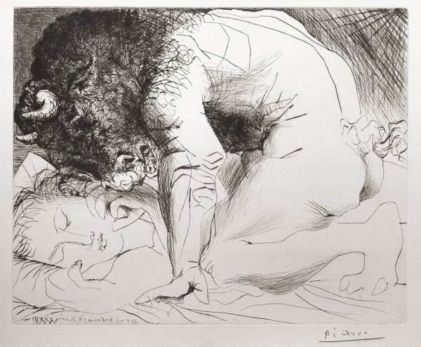 Minotaur Kneeling Over Sleeping Girl by Pablo Picasso at Pablo Picasso