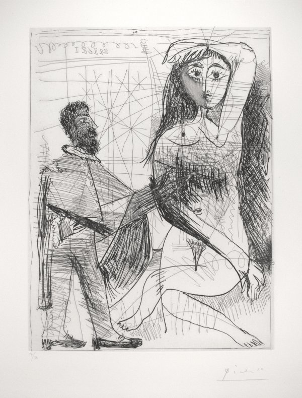 Painter In A Spanish Costume Painting His Model by Pablo Picasso