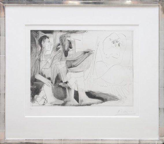 Peintre Barbu Avec Modèle Nu Et Un Spectateur by Pablo Picasso
