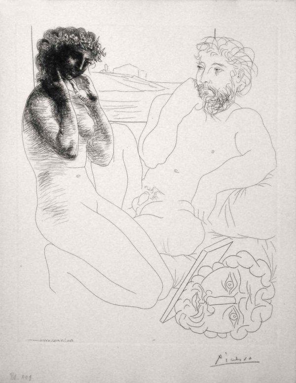 Sculpteur Et Modèle Se Regardant Dans Un Miroir… by Pablo Picasso