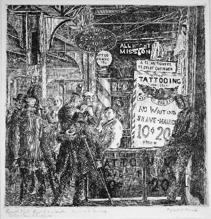 Tattoo-shave-haircut by Reginald Marsh at Harris Schrank Fine Prints (IFPDA)