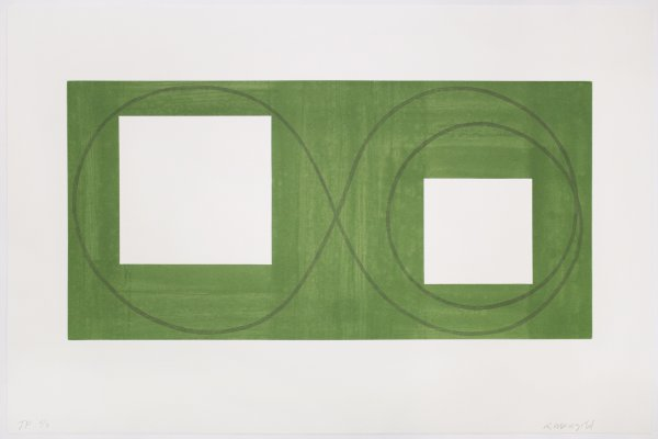 Two Open Squares Within A Green Area, 2017 by Robert Mangold