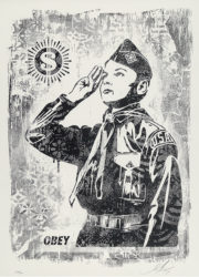 Damaged Stencil Series: Learn To Obey by Shepard Fairey at Taglialatella Galleries