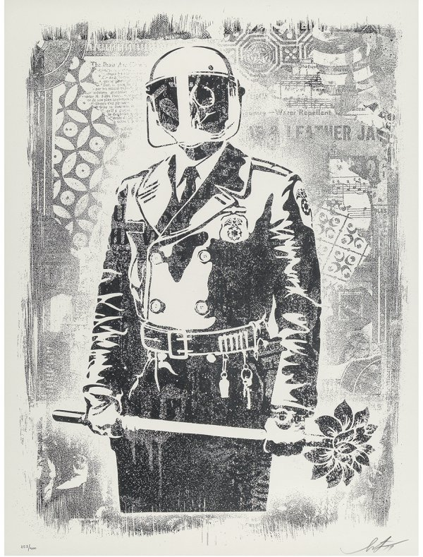 Damaged Stencil Series: My Florist Is A Dick by Shepard Fairey