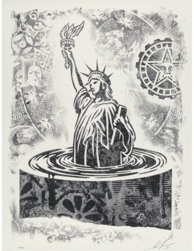 Damaged Stencil Series: People's Climate March by Shepard Fairey at Taglialatella Galleries