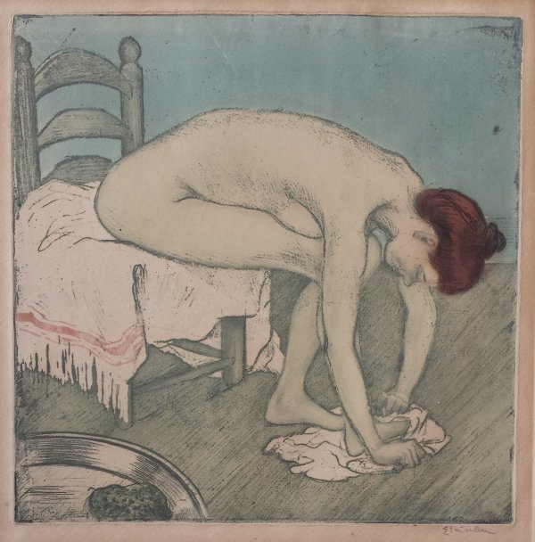 Femme Nue Assise, S'essuyant Les Pieds by Theophile-Alexandre Steinlen