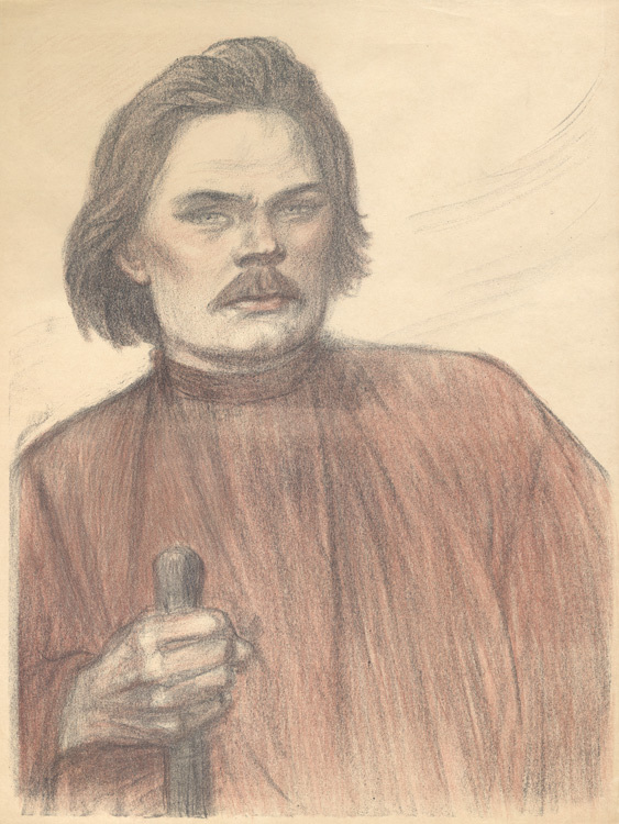 Maxime Gorki à Mi-corps De Face by Theophile-Alexandre Steinlen