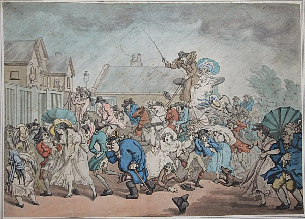 A Sudden Squall In Hyde Park by Thomas Rowlandson at R. E. Lewis & Daughter
