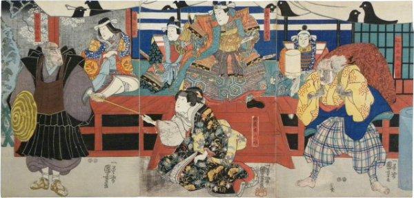Actors Bando Hikosaburo Iv As Taira No Munekiyo, Ichikawa Manakotama I As Genkuro Yoshitsune, Onoe K... by Utagawa Kuniyoshi