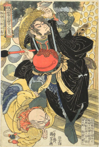 One Hundred And Eight Heroes Of The Popular Shuihuzhuan: Henmeisanro Sekishu, The Reckless Third Son by Utagawa Kuniyoshi