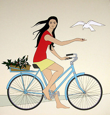 Blue Bicycle by Will Barnet