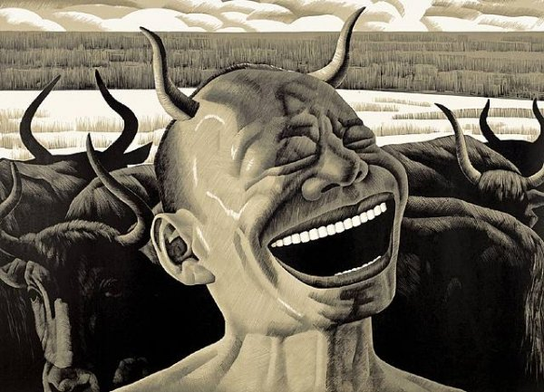 Laughing With Horns (from The Grasslands Series) by Yue Minjun