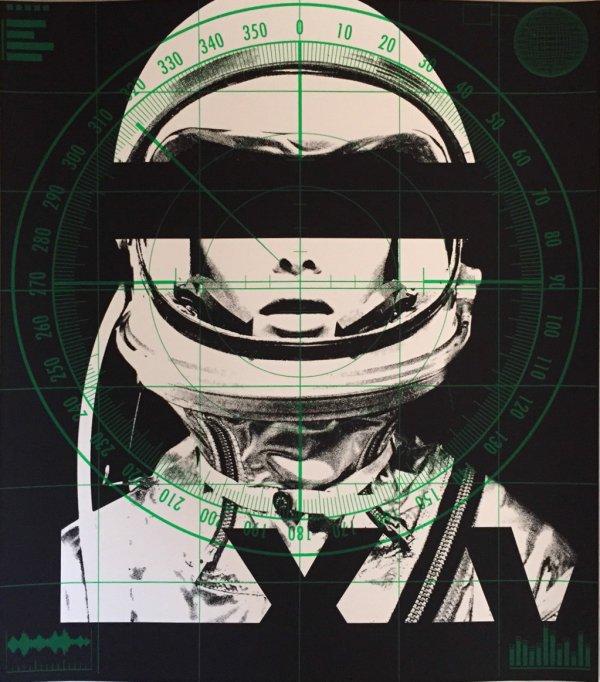 Astronaut Quadrichromie – Radar (green) by Abidiel Vicente & Houssein Jarouche Vicente