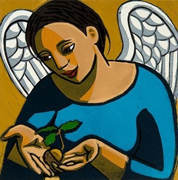 Angel Protecting An Acorn by Anita Klein at
