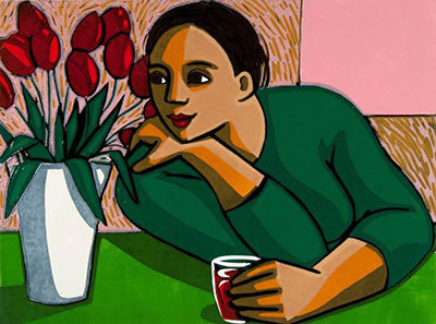 Red Wine & Tulips by Anita Klein at