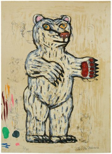 Bear (white/ Standing/ Slanting) by Atsuhiko Misawa