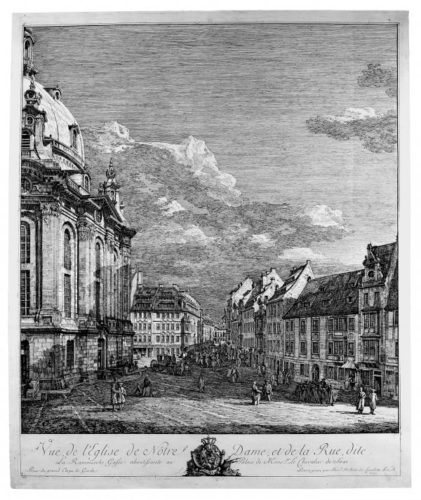 View Of The Frauenkirche In Dresden by Bernardo Bellotto at Stanza del Borgo (IFPDA)