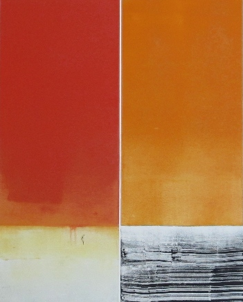 Red And Ochre Parallels # 07-11-23 by Betty Merken at