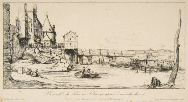 Passerelle Du Pont-au-change, Paris, Après L'incendie De 1621 by Charles Meryon at