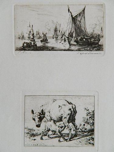 Pêcheurs De La Mer Du Sud & La Brebis Et Les Deux Agneaux by Charles Meryon