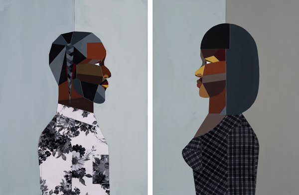 Pair: Figure Walking Into the Light (Woman) & (Man) by Derrick Adams at