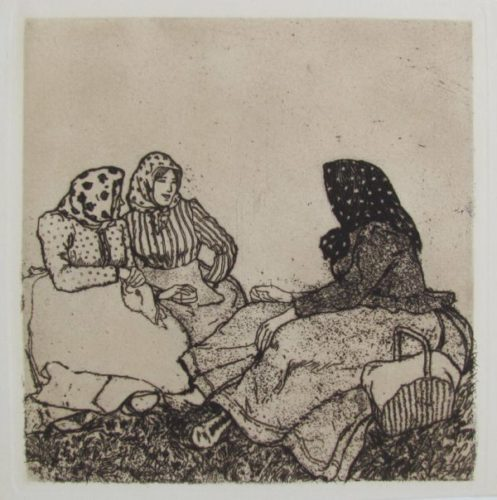 Three Peasant Women In Conversation by Emil Orlik at