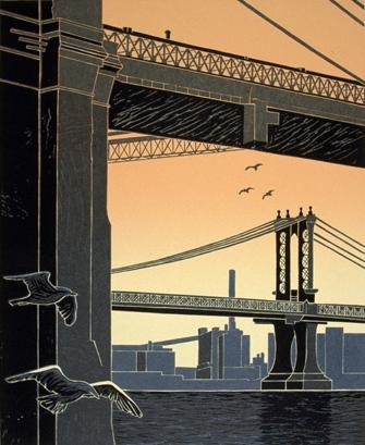 Manhattan Bridge Under The Brooklyn Bridge by Emily Trueblood