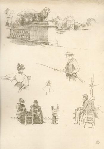 """A Paris. """"squares Et Jardins"""". Croquis Lithographiques Par Eugène Béjot. by Eugène Béjot"""