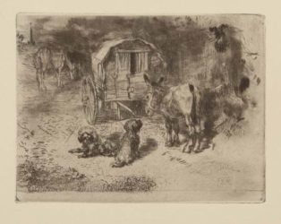 Gardiens Du Logis / Les Amis Du Saltimbanque by Felix Buhot at