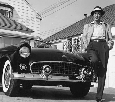 Frank Sinatra Next To His T-bird by Frank Worth at