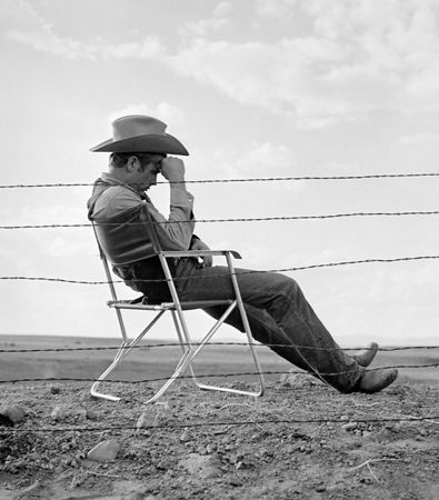 James Dean Seated by Frank Worth at