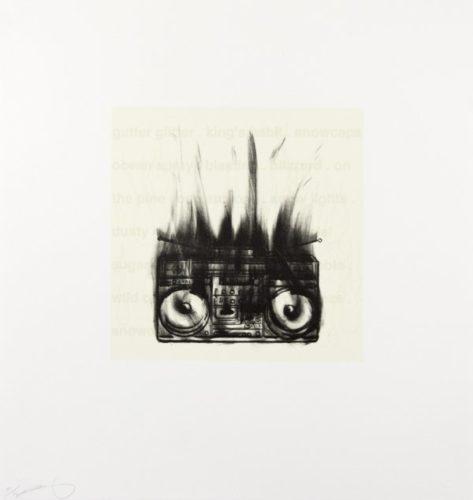Flaming Boom Box by Gary Simmons